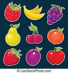 frutta, yummy, colorito, icons.