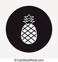 frutte, ananas, icona