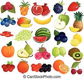 frutte, bacche, colorito, collezione, icone