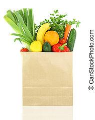 frutte, carta, verdure fresche, borsa, drogheria