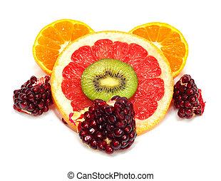 frutte, collezione, isolato, bianco