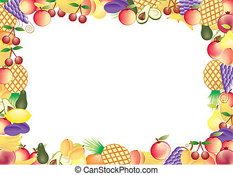 frutte, cornice, vettore