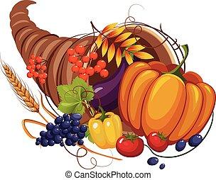 frutte, corno, foglie, caccie, verdura, vettore, abbondanza, autunno
