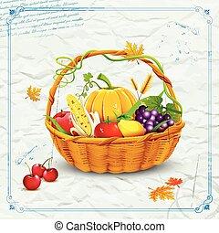 frutte, e, verdura, in, cesto, per, ringraziamento