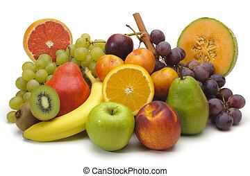 frutte, fresco, mescolato, piastra