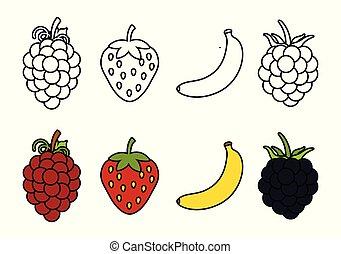 frutte, libro colorante, bambini