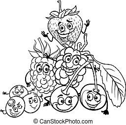 frutte, libro colorante, cartone animato, bacca