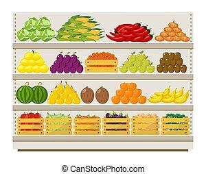 frutte, mensole, negozio, drogheria, illustration., vettore, verdura, appartamento, cibo
