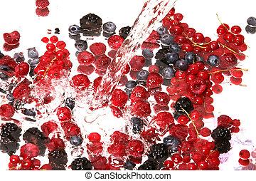 frutte, miscelare, e, acqua