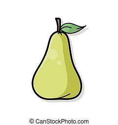 frutte, pera, scarabocchiare