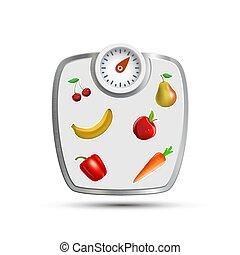 frutte, pesare, vegetables., scale