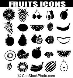 frutte, set, icone