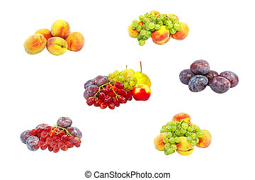 frutte, set, isolato, maturo, white.