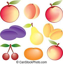 frutte, set, vettore