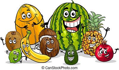 frutte tropicali, gruppo, cartone animato, illustrazione