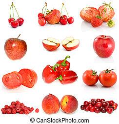 frutte, verdura, set, bacche rosse