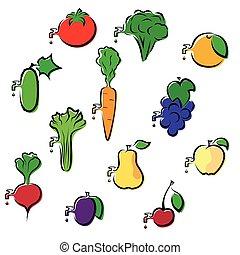 frutte, verdura, set, icone