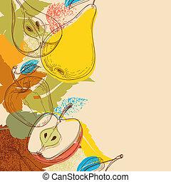frutte, vettore, fondo