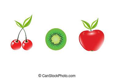 frutte, vettore, illustrazione