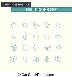 frutte, vettore, set, icone