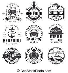 frutti mare, bianco, nero, emblemi, ristorante