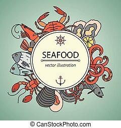 frutti mare, delicacies., simboli, vettore, vario, scheda
