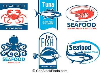 frutti mare, ristorante, prodotto, icone