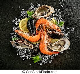 frutti mare, servito, su, nero, pietra