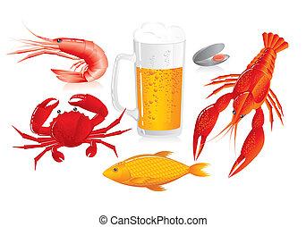 frutti mare, spuntino, -, tazza birra
