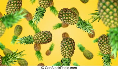 Fruuits falling down - Pineapples falling down on yellow...
