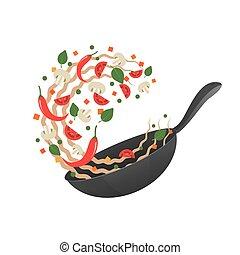 fry., illustration., apartamento, processo, cozinhar, sacudindo, style., vetorial, asiático, noodles, movimento, caricatura, pan.