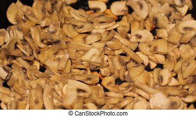 Fry Mushrooms in a Frying Pan