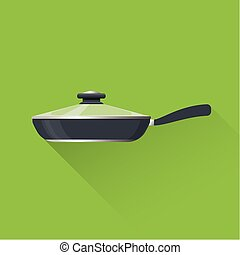 Fry pan icon. Flat design. Vector illustration.