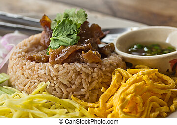 fry rice with the shrimp paste, asian food