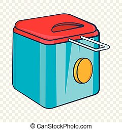 Fryer icon, cartoon style - Fryer icon in cartoon style...