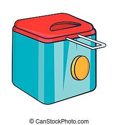 Fryer icon, cartoon style