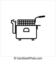 Fryer Icon, Deep Fryer Vector Art Illustration