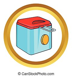 Fryer vector icon in golden circle, cartoon style isolated...