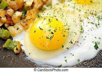 Frying an Over Easy Egg for Breakfast