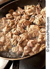 Chitterlings - Frying Chitterlings in a pan