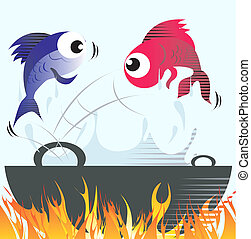 Frying fish - Illustration of two fishes jumping from frying...