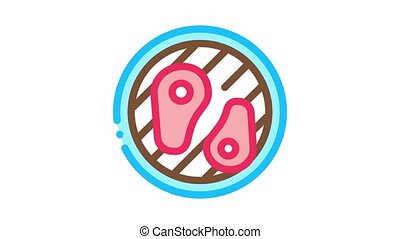 frying meat on bbq Icon Animation. color frying meat on bbq animated icon on white background