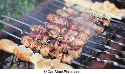 Frying meat on skewers
