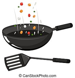 Frying pan and black spatula