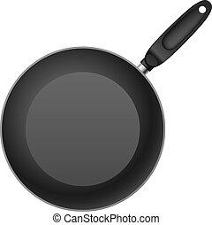 Frying Pan - Black Teflon coated shallow frying pan. ...