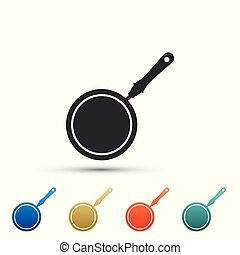 Frying pan icon isolated on white background. Set elements in colored icons. Flat design. Vector Illustration