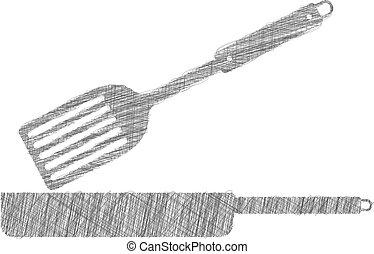 Frying pan illustration, kitchen utensils