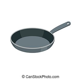 Frying pan isolated. Kitchen utensils for cooking food