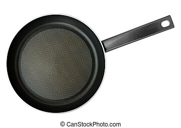Frying pan isolated on white background. Top view.
