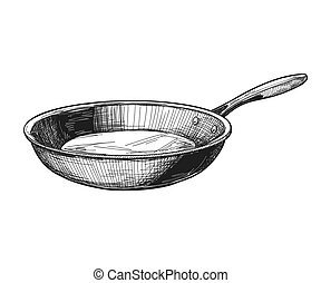 Frying pan isolated on white background. Vector illustration.